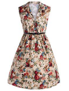 $17.67 Plus Size Vintage Floral Midi Shirt Dress With Belt in Floral | Sammydress.com