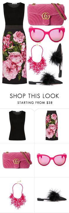 """""""Black + Pink"""" by cherieaustin ❤ liked on Polyvore featuring Sally Lapointe, Dolce&Gabbana, Gucci, Havaianas and Prada"""