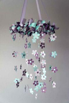 Plum & Aqua Flower Nursery Mobile - Baby Girl Nursery Decor, Baby Shower Gift do with butterflies Mobil Origami, Baby Girl Nursery Themes, Nursery Ideas, Girl Themes, Room Themes, Bedroom Ideas, Flower Nursery, Butterfly Nursery, Baby Room
