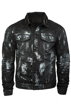 - Long Sleeves - Button-Up - Color: Black - Enzyme Stone Wash - Silver Paint Brush Detail - 100% Cotton - Front & Side Pockets