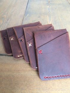 Minimalist Leather Cardholder Wallet by TimberAndHideCo on Etsy