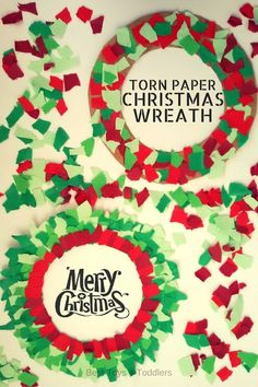 Easy to Make Torn Paper Christmas Wreath - quick to make with paper scraps!