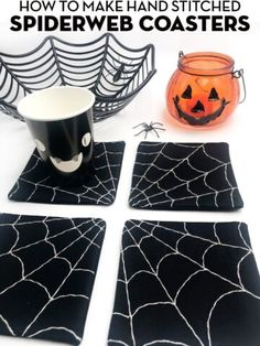 create a cute set of hand embroidered coasters perfect for Halloween. A free spiderweb fabric coaster sewing tutorial. Halloween Sewing, Halloween Kitchen, Halloween Quilts, Cute Halloween, Halloween Crafts, Halloween Table Centerpieces, Witch Quilt, Polka Dot Chair, Fabric Coasters