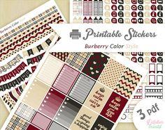 Printable stickers géometrique style Burberry mode  3 pdf   Téléchargement instantané   Planner, Happy planner