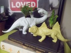 DIY Dino Plant Holders : Replace the plant with a short candle stick