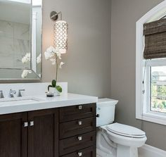 my bathroom- colors for the walls, trim and cabinet: grey walls, white counter, dark cabinets