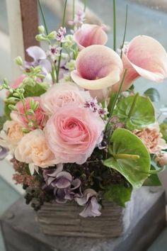花どうらく/花屋/hanadouraku/http://www.hanadouraku.com/flower arrengement/ピンク/パステル/バラ