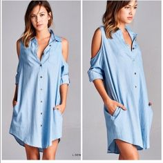 Oversized Slouchy Boyfriend Denim Shirt dress Super soft and fabulous design open shoulder. Button down oversized slouchy boyfriend top . Open shoulder detail . Roll up sleeves or leave long . Nwt runs loose Pastel s and m available Vivacouture Dresses Long Sleeve