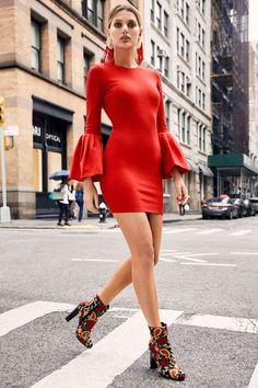 97427a18d047 Double Flair Red Long Sleeve Bodycon Dress