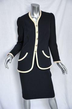 CHANEL Navy+Creamy Yellow Trim *VINTAGE* Collarless Blazer/Jacket+Skirt SUIT M/L   eBay