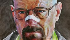 A Blood Spattered Walter White  Ink and Oil on Panel