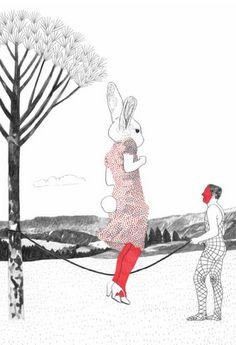 "Illustrations for ""Caza de conejos"" a book of the Uruguayan writer Mario Levrero."