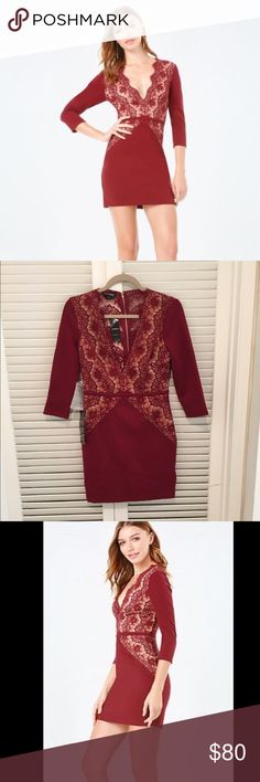 """bebe dress 🌹 NWT- Always-chic dress with beautiful lace insets. Scalloped edges signal a romantic vibe. Sexy deep V-neck and sheer lace back. 3/4 sleeves. Back hook-and-eye and exposed zip closure. Partially lined. 62% Rayon, 34% nylon, 4% spandex Center back to hem: 32.5"""" (82.5 cm) bebe Dresses Mini"""