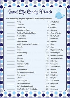 Sweet Life Candy Match Game - Printable Download - Navy Gray Whale Baby Shower Game - B15007