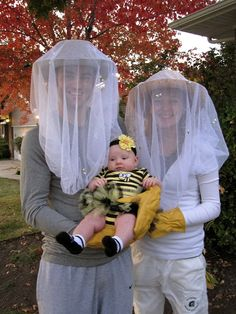 Our bee keeper and baby bee Halloween costume. Fun and creative family Halloween costume.