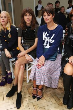 Pixie Geldof and Alexa Chung - J.W. Anderson - Front Row: London Fashion Week SS14