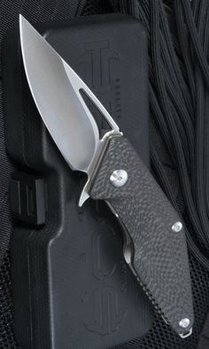 Brous Blades MDCF-SA Mini Division Carbon Fiber Pocket Knives, Satin - Everyday Carry Gear