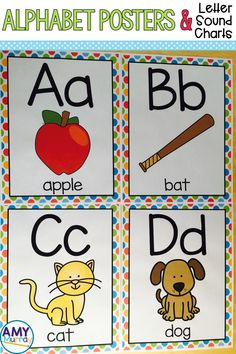 Alphabet posters & letter sound charts in bright polka dots.  Great, uncluttered, visuals for young learners!