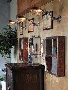 画像: 工業系ワイヤーケージ&角度調整付きブラケットA/インダストリアルトラブルライトウォールランプ/壁掛け照明