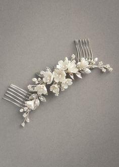 RACHEL_Antique silver and ivory bridal headpiece 1 Floral Wedding Hair, Hair Comb Wedding, Headpiece Wedding, Bridal Headpieces, Bridal Hair, Wedding Veil, Romantic Updo, Clay Flowers, Swarovski Pearls
