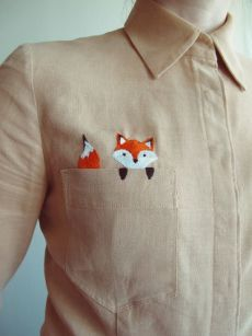 Personalized Photo Charms Compatible with Pandora Bracelets. Button down with a pocket fox embroidery. - Personalized Photo Charms Compatible with Pandora Bracelets. Shirt Embroidery, Hand Embroidery Stitches, Embroidery Fashion, Cross Stitch Embroidery, Embroidery Designs, Embroidery Techniques, Cute Embroidery, Diy Clothes Embroidery, Geometric Embroidery