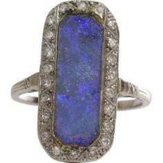 Edwardian Black Opal Ring | Platinum Diamond | Antique