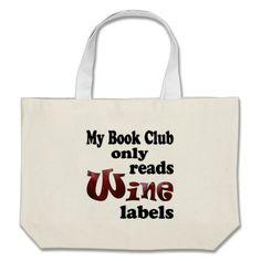 Book Club Wine Labels Tote Bag