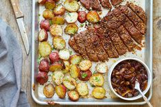 Sheet Pan Steak and Potatoes —An easy and delicious dinner ready in less than an hour. Perfectly seasoned, melt-in-your-mouth tender steak and potatoes are cooked in the oven on one sheet pan. Car…