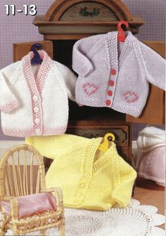baby dolls clothes knitting pattern dolls cardigans by Minihobo