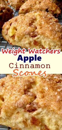Cinnamon Scones Light as air and crumbly, these apple cinnamon scones are packed with chunks of apple and spicy cinnamon. The scones are made with a basic buttermilk scone base so the texture is supremely tender. Light as air and crumbly, these a. Weight Watcher Desserts, Weight Watchers Apple Recipes, Weight Watchers Breakfast, Ww Recipes, Skinny Recipes, Weight Watchers Meals, Gourmet Recipes, Cooking Recipes, Recipies