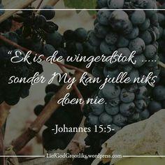 """{Groei deur Gebed) Week 2 - HOEKOM MOET ONS BID VRYDAG – Om ons afhanklikheid van God te verhoog. LEES: Johannes 15:1-5 SOAP: Johannes 15:5 """"Ek is die wingerdstok, julle die lote. Wie in My bly en Ek in hom, dra baie vrugte, want sonder My kan julle niks doen nie."""