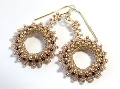 Pink and Gold Earrings Bead Woven Earrings Seed by IrisElmJewelry