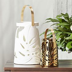 Modern floral cut-outs round a lantern revealing the glow from within. Stylish brass handle holds on for easy transport. monstera leaf lanterns is a exclusive. Unique Candle Holders, Unique Candles, White Leaf, Large White, Gold Leaf, Brass Handles, Home Gifts, Home Art, Tea Lights