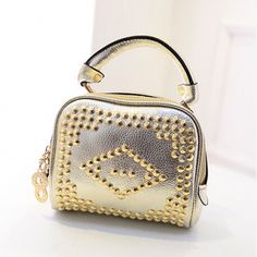 Rivets Decorated Gold PU Clutches Bag