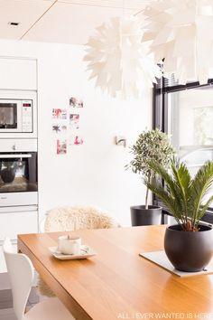 Green plants, wooden dining table, Norm 69 -lights ; scandinavian kitchen / interior