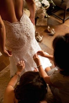French lace low back wedding dress.