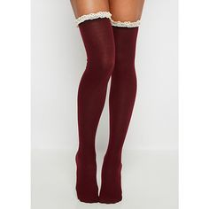 Burgundy Crochet Ruffled Over-The-Knee Socks ❤ liked on Polyvore featuring intimates, hosiery, socks, above knee socks, frilly socks, frill socks, over the knee hosiery and overknee socks