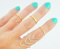 5 Above The Knuckle Gold Rings  Gold Midi by AnnaFrancesDesigns, £6.99