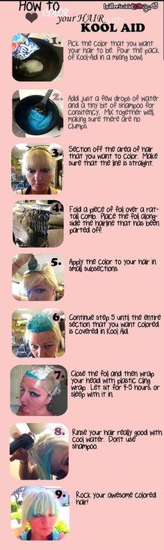 DIY Kool Aid-Colored HAIR | hwh  Holleewood HAIR. #hairstlyes