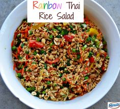 Rainbow Thai Rice Salad | Fresh and simple salad recipe for summer. Great for a backyard party or potluck. AD MinuteMealsSweeps