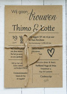 Kraft trouwkaart met hartje - Lotte & Thimo Wedding Cards, Our Wedding, Dream Wedding, Wedding Invitation Wording, Invites, Glitter Cards, Wedding Announcements, Save The Date Cards, Wedding Inspiration