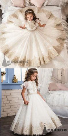 1ee8dd714237 Applique Lace Flower Girl Dresses White Princess Ball Gowns Pageant Dresses  Birthday Party Dress