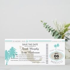 Shop Teal Palm Tree Save the Date Boarding Pass created by labellarue. Seaside Wedding, Summer Wedding, Destination Wedding, Save The Date Postcards, Save The Date Cards, Personalized Invitations, Zazzle Invitations, Ticket, Unique Office Supplies
