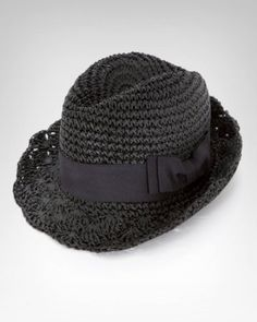 Straw fedora with a scalloped edge and black ribbon bow ~ Bebe