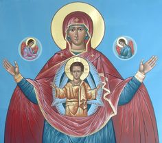 A gallery of icons of the Theotokos by master Iconographer Father Matthew Garrett. Icons for sale and commission, as well as info on icon classes and workshops Matthew Garrett, Blessed Mother Mary, Religious Images, Guardian Angels, Signs, Ikon, Madonna, Christ, Father