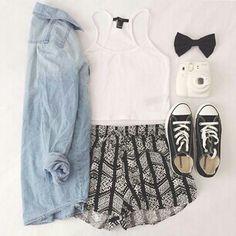 Light Blue Denim Button Up, White Spaghetti Strap Tank Top & White, Black Patterned Shorts /w Black Converses & Black Bow