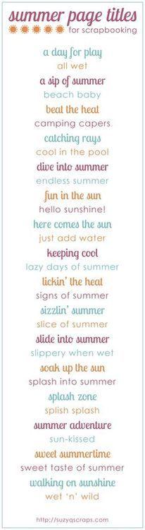 summer scrapbook idea