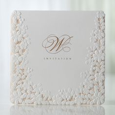 Ivory Pink Embossed Laser Cut Floral Wedding Invitations - BH 3301 | ItsInvitation