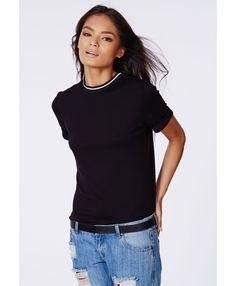 b30c2afc9f8e Amorette Roll Sleeve Sports Rib T Shirt Black - Tops - Missguided