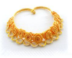 Crochet collier - lin - Roses Jaunes Collier Tour de cou